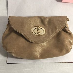 Elaine Turner nude light tan gold flecked bag